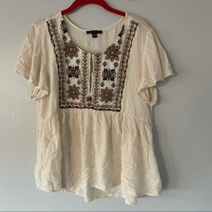 American Eagle floral embroidered babydoll top